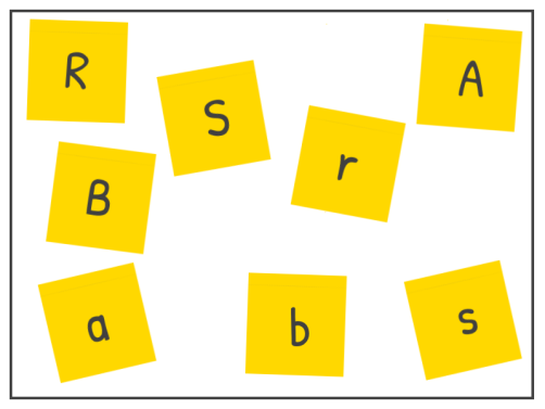 Match capital letters to their lower case partners in this fun phonics game. Write the letters on sticky notes, mix the up and ask your student to sort them out.