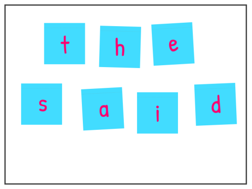 Learn to spell tricky words by writing the letters on sticky notes and jumbling them up. Then ask your student to use the letters to make tricky words.