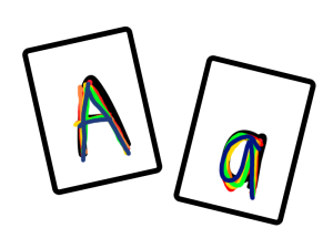 Practice recognizing upper case and lower case letters with this fun rainbow writing game.