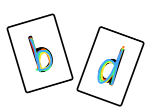 Practice recognizing similar letters with this fun rainbow writing game.